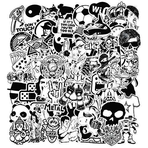 Aufkleber [120 Stück], Schwarz Weiß Sticker Graffiti Vinyl Aufkleber für Laptop Autos Motorrad ……