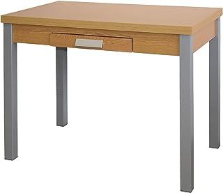 Mesa de Cocina Extensible - Modelo SILANTA - Color RoblePlata - Material MDFMetal - Medidas 100160 x 60 x 76 cm
