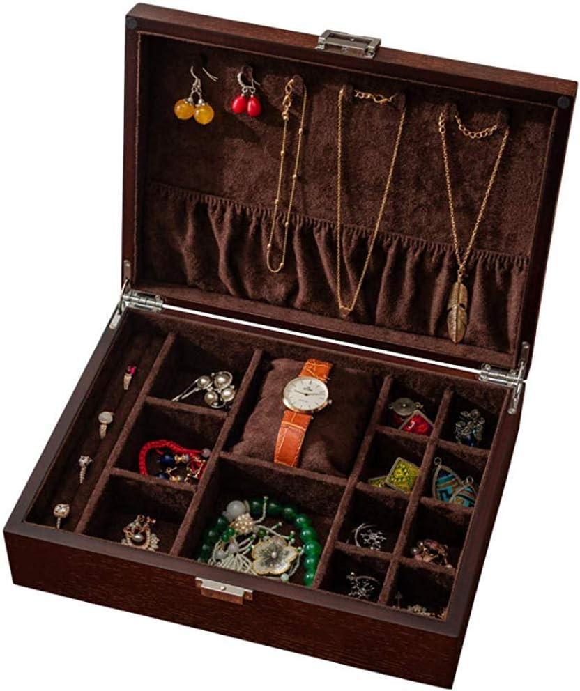 MU Joyería de madera caja de reloj Cajas Regalo Hombre Mujer Viaje antiguos del reloj de la joyería collar pendientes caja de almacenamiento 300 * 220 * 85mm