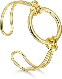 PLTGOOD 18 قيراط الذهب مطلي أساور الإسورة للنساء - حساسة الحب عقدة / دائرة / سلسلة ربط مكتنزة قابلة للتعديل هدية مجوهرات