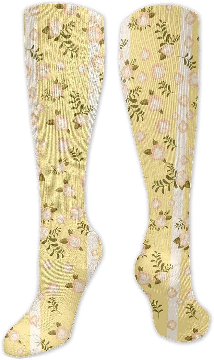 Yellow Stripe Flower Knee High Socks Leg Warmer Dresses Long Boot Stockings For Womens Cosplay Daily Wear