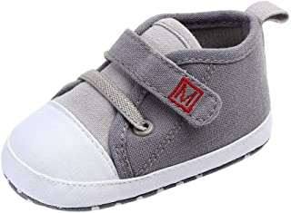 Sinwasd Trainers Shoes Newborn Baby Cute Boys Girls Canvas First Walking Shoes Soft Sole Shoes Magic Tape 0-15 Months