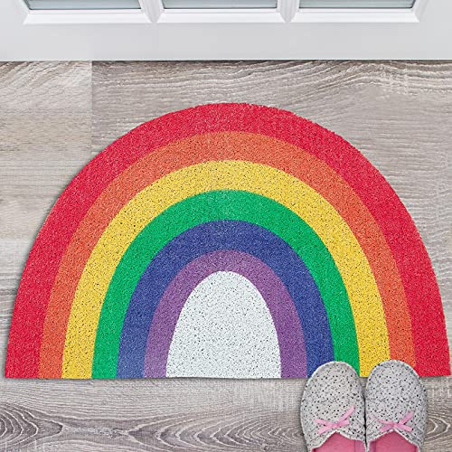 Alfombrilla de Puerta Arcoíris Alfombrilla de Fibra de Coco de Puerta de Entrada Felpudo de Bienvenido Alfombra Colorida de Entrada al Aire Libre Alfombrilla de Baño, 60 x 40 cm