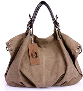 KISS GOLD(TM) European Style Canvas Large Tote Top Handle Bag Shopping Hobo  Shoulder 94916a39a5585