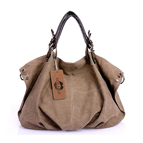 21d1bac26f56 KISS GOLD(TM) European Style Canvas Large Tote Top Handle Bag Shopping Hobo  Shoulder