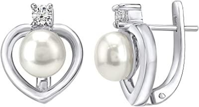 Orecchini d'argento cuore con perla bianca argento Sterling 925