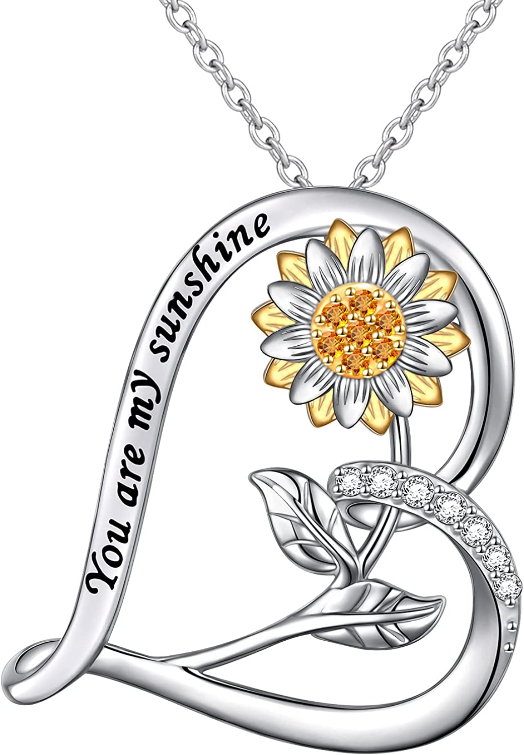 Genuine Sterling Silver You Are My Sunflower Neck Heart Special Campaign Pendant Sunshine