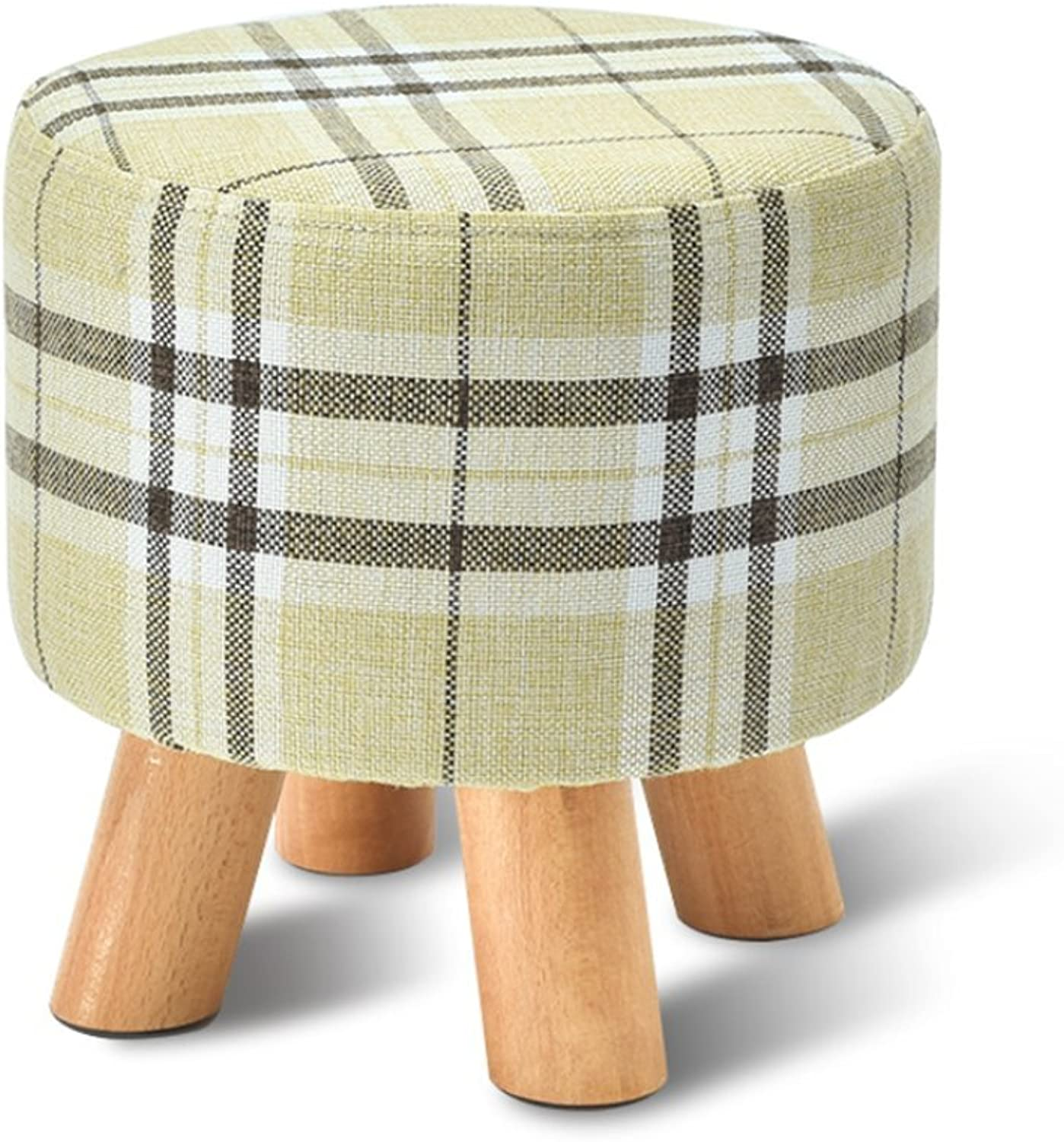 Fabric Small Round Stool, Home Living Room Sofa Bench, Simple Doorway shoes Bench,F