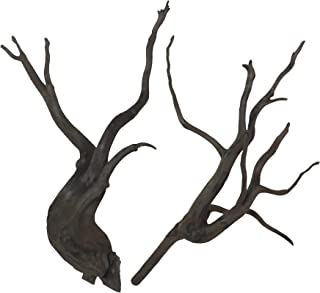 60cm水槽用 流木2本セット(黒色)【AQUASHOP wasabi】 アクアリウム用・水草水槽用流木 水草レイアウト水槽用黒枝流木
