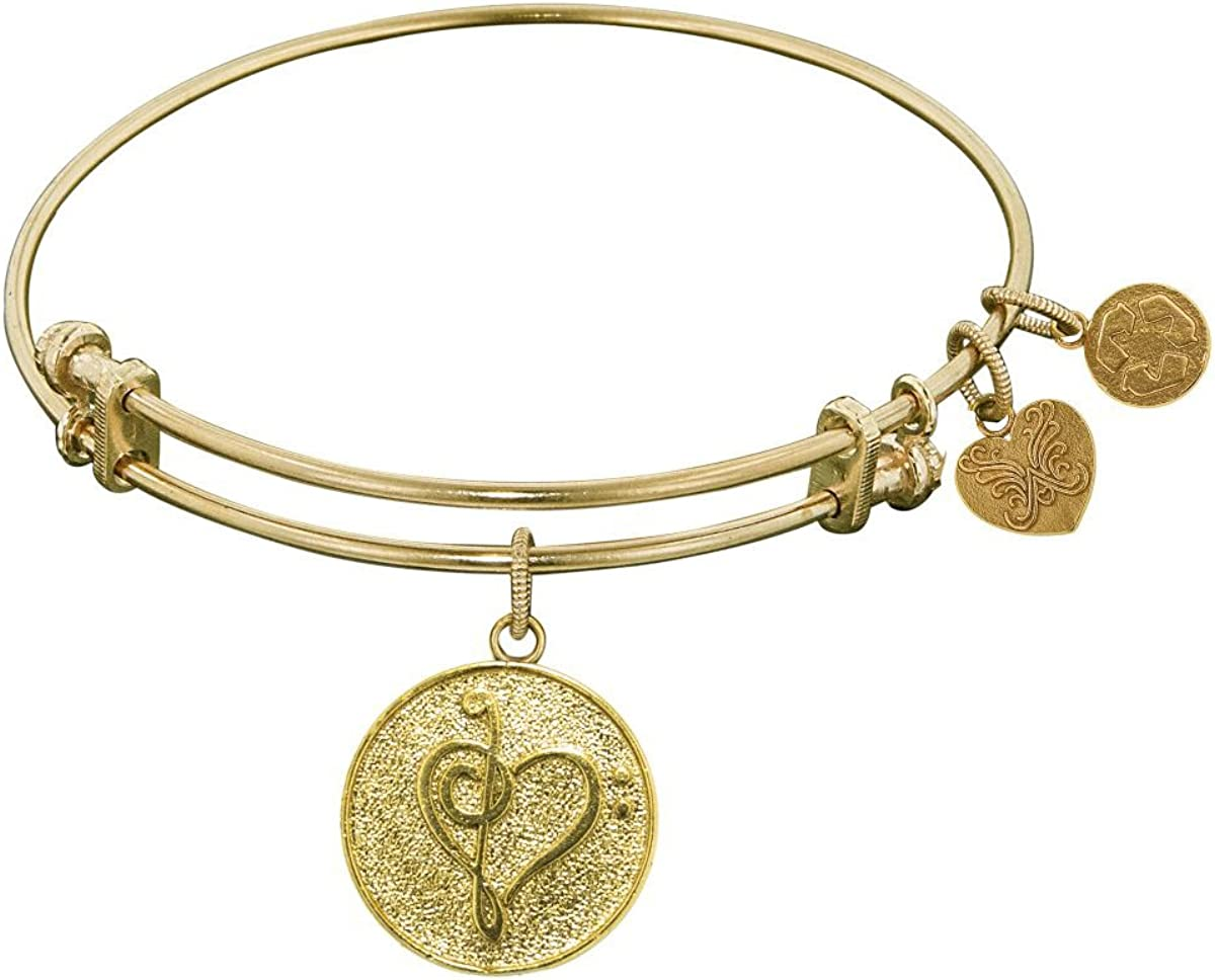 Jewelry Affairs Stipple Finish Brass Music Angelica Bangle Bracelet, 7.25
