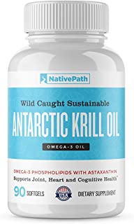 Native Path Antarctic Krill Oil- Rich with Omega 3, Vitamins A, E, B9, B12, Including Choline, Phospholipids and Astaxanthin, Benefits The Immune System, Mood, and Memory (90 softgels per Bottle)