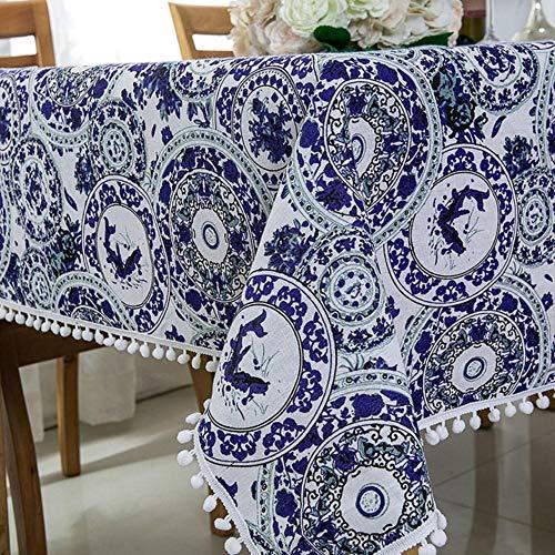 EDCV Home tafelkleed Oosters tafelkleed Linnen blauw en wit porselein patroon bedrukte tafelkleden met kanten kwasten, RDTL