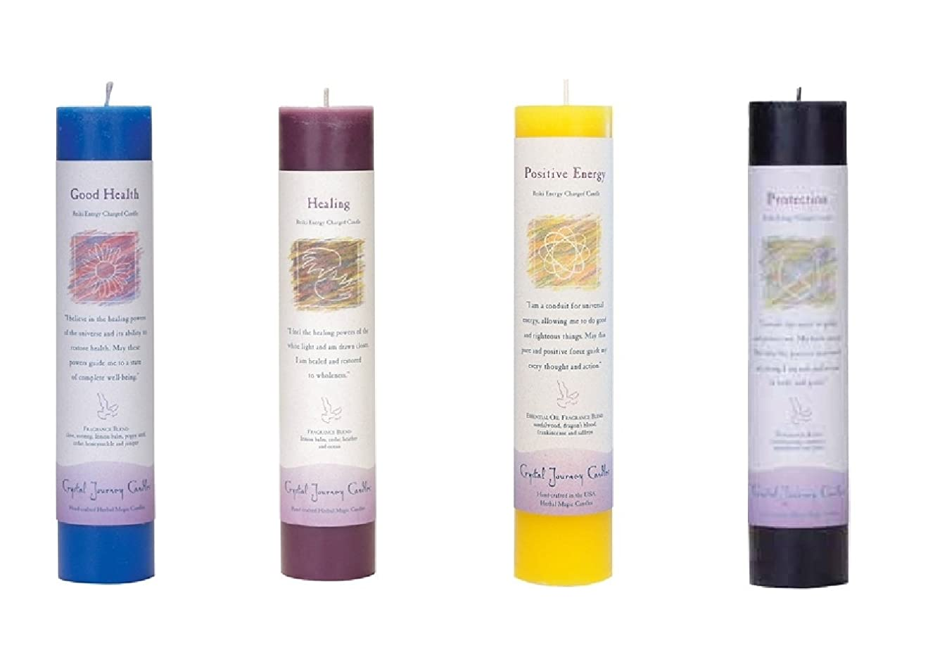 (Good Health, Healing, Positive Energy, Protection) - Crystal Journey Reiki Charged Herbal Magic Pillar Candle Bundle (Good Health, Healing, Positive Energy, Protection)