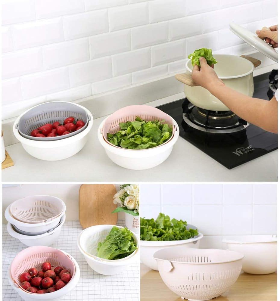 JSZ Doppelter Abflusskorb Kunststoff Nützliche Hochwertige Mode Double Drain Korb Schüssel Waschen Home Küche Sieb Nudeln Gemüse Obst Geschenk Grau Weiß