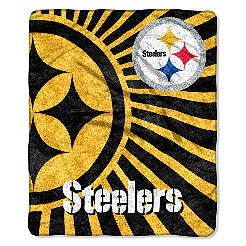 """Officially Licensed NFL Pittsburgh Steelers """"Strobe"""" Sherpa on Sherpa Throw Blanket, 50"""" x 60"""", Multi Color"""