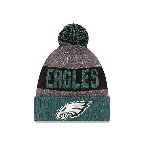 New Era Knit Philadelphia Eagles Green On Field Sideline Sport Knit Winter  Stocking Beanie Pom Hat 1f5230ee6