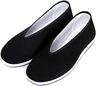YunPeng Chinese Traditional Old Beijing Shoes Unisex Martial Art Kung Fu Tai Chi Rubber Sole Shoes Black (Black Y, 44)