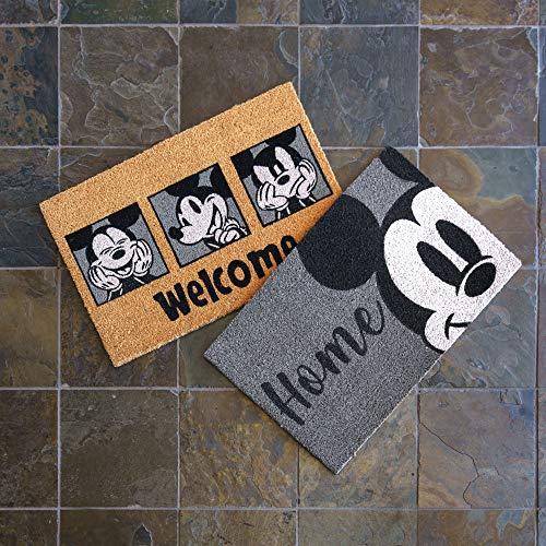 Gertmenian Disney Mickey Mouse - Felpudo Retro clásico para Entrada, 2 Unidades de Fibra de Coco de 20 x 34, Color Naranja y Gris