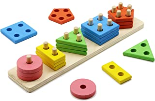 MoTrent Wooden Color Recognition & Shape Sorter, Colorful Geometric Board Sorting & Stack Chunky Puzzle Toys for Kids