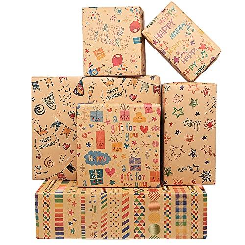 Geburtstag Geschenkpapier,12 Blatt Kraft Geschenkpapier mit Juteschnüren, Aufklebern und Anhängern,Gefaltetes Geburtstags Geschenkpapier,50x70cm Recycling Geschenkpapier für Jeden Geburtstags Anlass