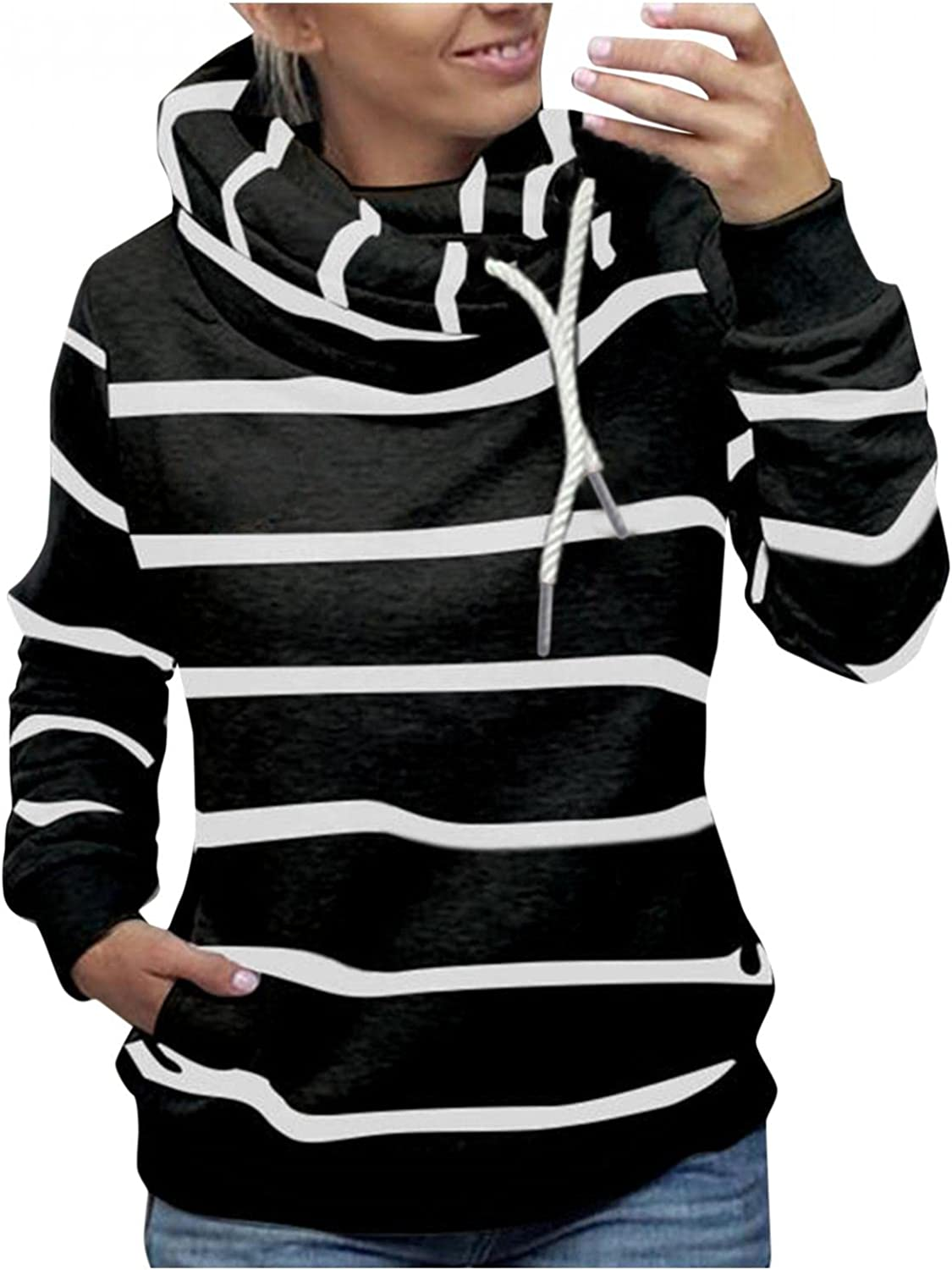 Gibobby Hooded Sweatshirts for Women Casual Turtleneck Long Sleeve Pullover Sweaters Stripe Hoodies Drawstring Jackets