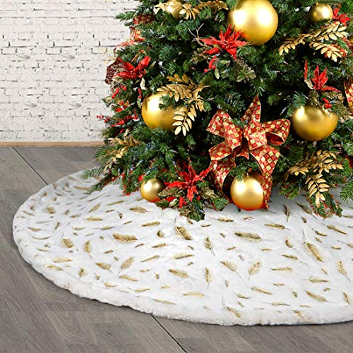 HusDow 35inch Christmas Tree Skirts, Faux Fur Xmas Tree Skirts Base Cover with Gold Feather for Christmas Holiday Decorations Tree Ornaments