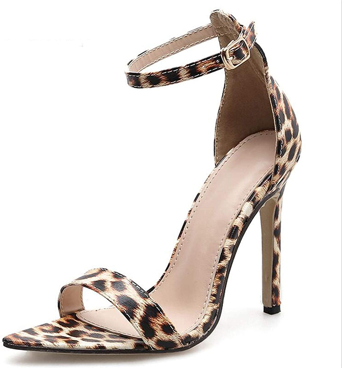pink flowers 2019 Pumps Spring Autumn New PU Pointed Toe Leopard-Print High shoes Thin Heels