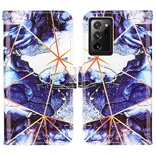 Nadoli Marmor Brieftasche Hülle für Samsung Galaxy Note 20 Ultra,Geometrische Marmor Design Lederhülle mit Standfunktion Kartenfach Magnetverschluss Silikon Bumper Schutzhülle