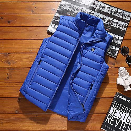 Roboraty Verwarmd vest, oplaadbare USB-warmte-jas voor dames en heren, buik- en rugwarmte, voor skiën, outdoor-activiteiten, jagen, kamperen en wandelen, lichtblauw