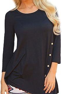 5577def40d6a3 STORTO Women Plus Size Loose Button Trim Blouse Long Sleeve Solid Color  Round Neck Tunic T