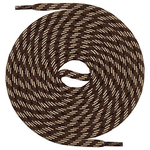 Mount Swiss runde Schnürsenkel für Wanderschuhe, Trekkingschuhe und Arbeitsschuhe - extra reißfest - ø 5 mm Farbe Braun-Beige-m3- Länge 150cm