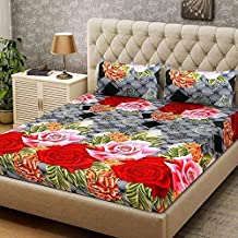 LeeFab India Floral Print Cotton Double Bedsheet with 2 Pillow Covers (King Size, Multicolour)