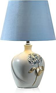 MEGSYL European Style Pastoral Wedding Hand-Painted Engraved Table lamp, E27, Blue, Gold Leaf Hydrangea macrophylla