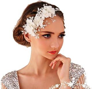 Miya®, cerchietto glamour con delicati fiori in tulle, pizzo, cristalli trasparenti e perline, ideale per le spose e c...