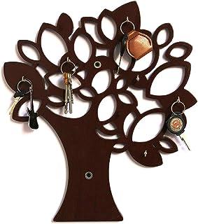 Noble Wood Crafts Arts The Tree Key Wall Holder || Wooden Key Holder || Decorative Key Hanger (Brown)