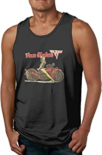 Men FEA Van Halen Biker Pinup Casual Cotton Sleeveless Tee Top Printed Tank Shirts
