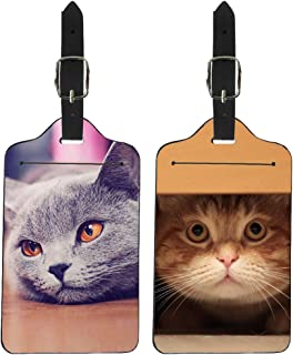 Coloranimal 2 Packs Luggage Tags for Unisex Funny 3D Animal Pet Cat Pattern Travel Outdoor Credit Cards Name Card Holders Organizer with Leather Strap