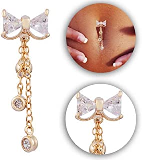 JUYIN Belly Button Ring,Belly Bars Drop Body Piercing Belly Button Ring Crystal Dangly Reverse Navel