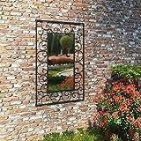 vidaXL Gartenspiegel Rechteck 50x80cm Schwarz Wandspiegel Dekospiegel Spiegel
