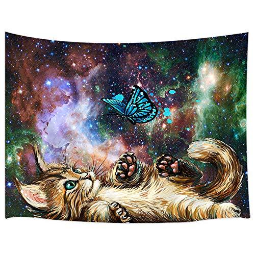 Tapiz de pared para gato, diseño de gato con mariposa, cielo estrellado, nebulosa galaxia y caminos lechosos, tapiz psicodélico para colgar en la pared, 180 x 152 cm