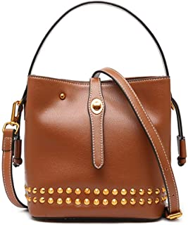 Songlin@yuan Women's Messenger Bag New Fashion Simple Simple Joker Firming Small Shoulder Studded Leather Tote Size:18 * 13 * 19.5cm (Color : Brown)