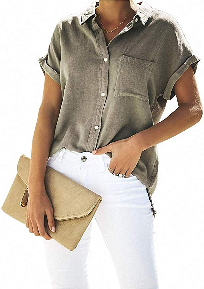 YOOKOON Womens Casual V Neck Striped Cuffed Sleeve Button Down Collar Blouses Shirts Tops