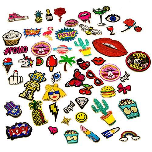 Patches zum Aufbügeln, 100 Stück, Aufnäher mit bis zu 40 verschiedenen Motiven für alle Kleidungsstücke, Applikation zum Selbstgestalten, Bügelbilder und Sticker