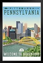 Pittsburgh Pennsylvania Welcome to Adventure Monongahela River Fort Pitt Bridge Skyline Tourism Travel Black Wood Framed Poster 14x20