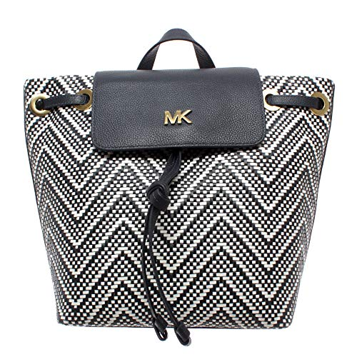 Michael Kors Bolsos Mujer Mochilas 30H8BX5B2U Flap Backpack Piel Negro Blanco