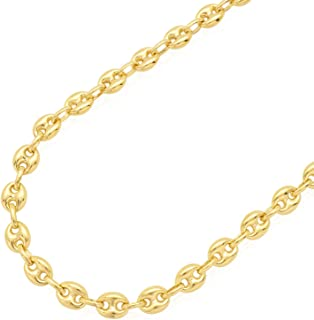 14K SOLID Yellow Gold 6.65MM Puff Mariner/Marina Chain Bracelet or Necklace - Puff Anchor chain