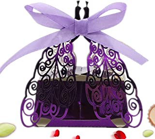 the love 50 Pcs Laser Cut Shiny Purple Peacock Creative Chocolate Box Wedding Favors Candy Boxes Gifts Box Marriage Party Decors