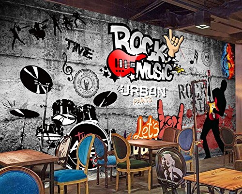 Yosot Custom 3D Bar Tapete Retro Hip-Hop Rock Music Bar Ktv Hintergrund Wand Musik Wandbild Musik Party Tapeten-140Cmx100Cm