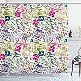 ABAKUHAUS Flugzeug Duschvorhang, Reisepass Briefmarken Städte, mit 12 Ringe Set Wasserdicht Stielvoll Modern Farbfest & Schimmel Resistent, 175x180 cm, Grau weiß & Rosa