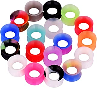 18 Pairs Double Flared Soft Flexible Silicone Ear Tunnels Expander Ear Gauges Piercing